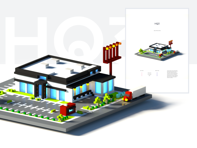 FullStory HQ3 illustration minimal hq poster 3d 8bit
