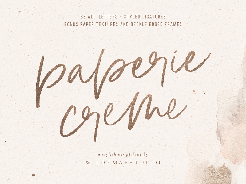 Paperie Creme Stylish Script Font By Wilde Mae Studio logo branding design paper textures beautiful font feminine sexy gold paper texture calligraphy hand lettering brush lettering brush font brush script script fonts script beauty fashion stylish font watercolor