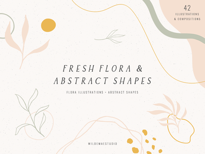 Fresh Flora  & Abstract Shapes by Wilde Mae Studio creative resources graphic assets abstract shapes shapes abstract floral flora icon ux ui lettering illustration modern design branding feminine stylish font typography logo