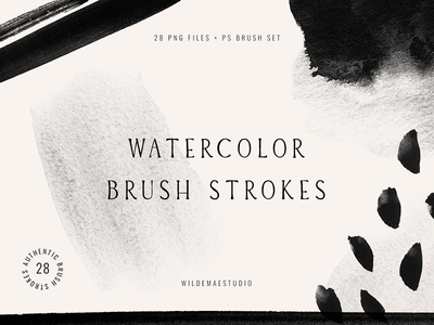 Watercolor Brush Strokes Vol. I by Wilde Mae Studio icon modern design ux ui lettering hand lettering type illustration branding font typography logo creative resources assets textures photoshop brushes photoshop brush strokes watercolor
