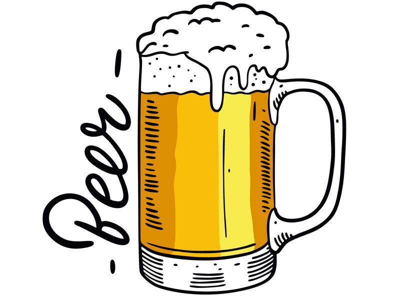 Beer glass vector illustration brewery pub sketch glass oktoberfest beer design lettering type web icon branding logo vector illustration