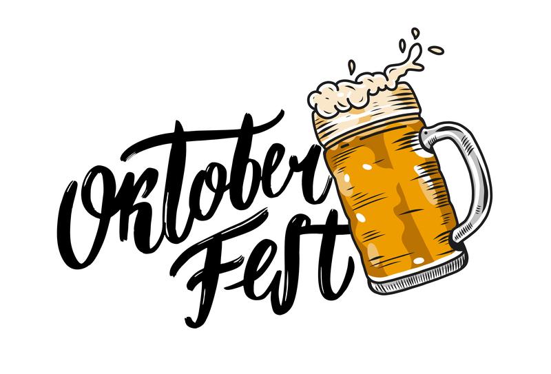 Oktoberfest festival beer oktober oktoberfest autumn lettering type vector sketch logo illustration icon design