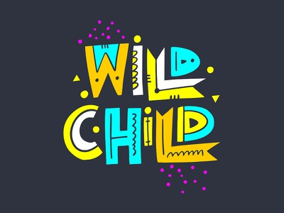 Wild child quote phrase typography cute cartoon type lettering vector design sketch illustration