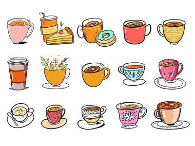 Coffee Mugs cups drink coffee mug cute logo cartoon vector design sketch illustration