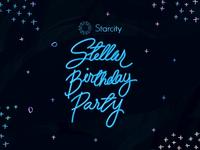 Starcity Stellar Birthday Party Logo Lock Up