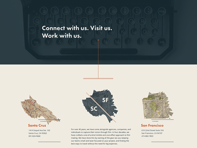 WIP: A different kind of contact page ui ux website illustration maps vintage videography design futura open sans octopus
