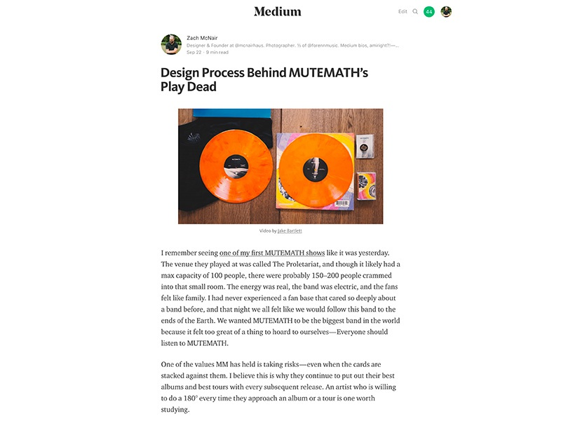 I wrote about MUTEMATH's design process medium process behind the scenes logo branding typography mcnair haus play dead mmlp5 mutemath graphic design art direction