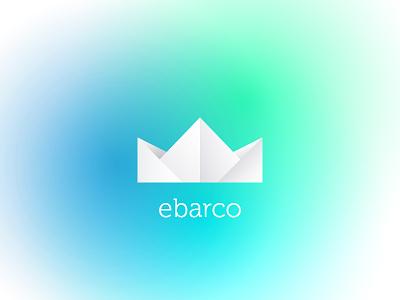 E-Barco (eletronic boat) barco branding design id logo paper boat