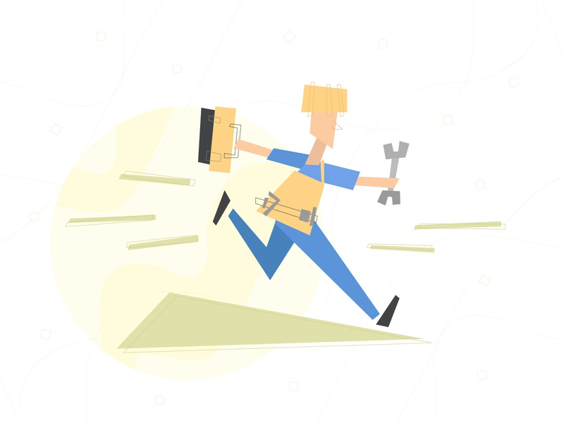 Engineer engineer tools line geometry vector illustration