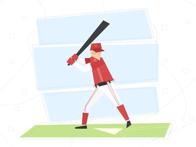 Baseball field game player baseball lines geometry ai design vector illustration