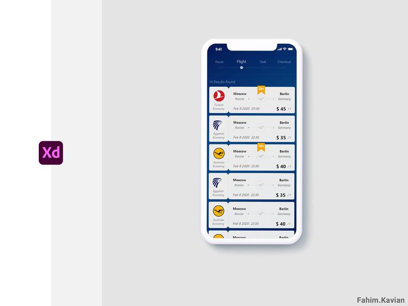Airplane Booking ui design ux app