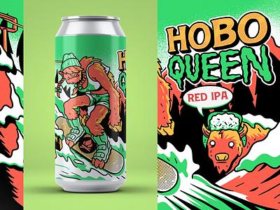 Lost Cabin - Hobo Queen IPA print label design southdakota actionsports drawing illustration ipa beer beerlabel