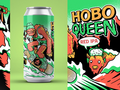 Lost Cabin - Hobo Queen IPA print label design southdakota actionsports drawing illustration ipa beer beerlabel