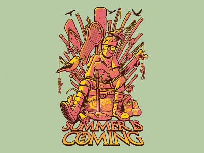 Summer Is Coming beer fishing teedesign branding clothing illustrator art photoshop procreate design drawing illustration
