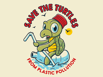 Save The Turtles earthday ocean procreate illustration awareness cute pollution earth recycle charity turtles commission drawing