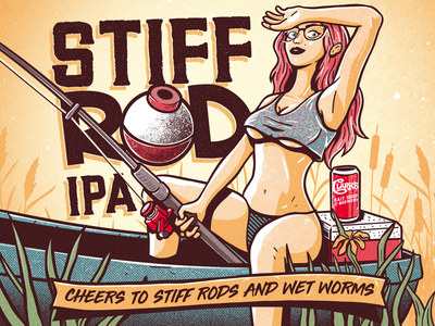 IPA Label Concept fishing drawing girl beer label brewery illustration design