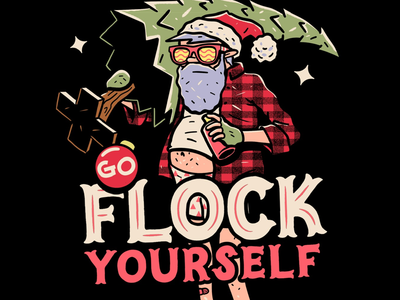 Go Flock Yourself procreate illustration designer santa teedesign drawing christmas