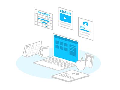 Hey Dribbble! outline illustrator ed tech desk teacher education perspective minimalist illustration