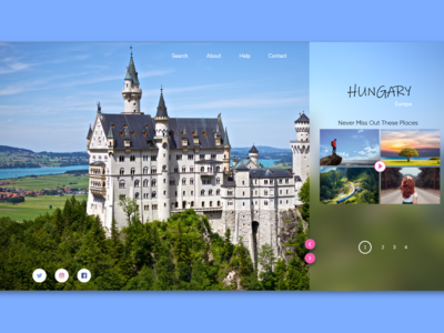 Travel landing page UI design