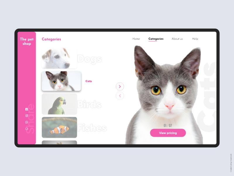 Pet shop design concept design art shop animal pets website adobe photoshop interface uidesign design adobexd