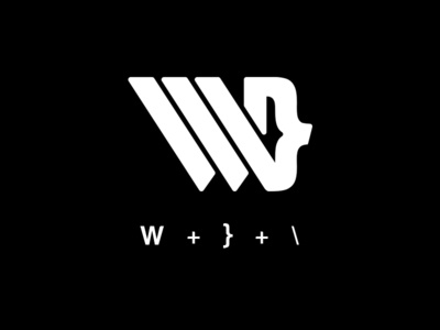 W, curly bracket and slash monogram concept 02