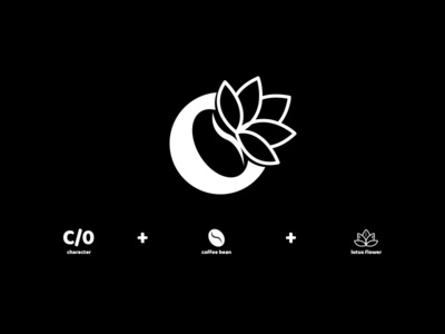 C O, coffee bean and lotus flower monogram
