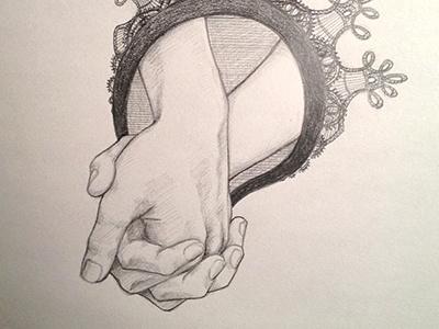 Hands pencil illustration hands lace