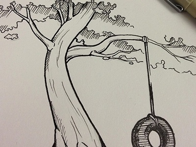 Tree and Tire Ink Detail ink linework illustration