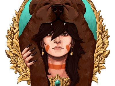 Totems:Bear Poster poster illustration bear hat frame