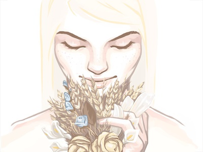 Flowers flowers woman illustration drawing pale