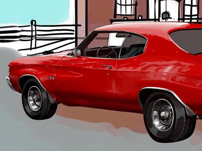 Car WIP car painting illustration