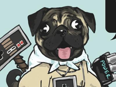 Pug Nerd illustration pug