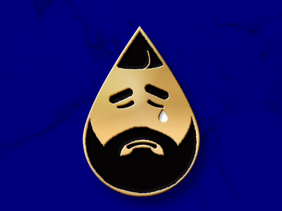TEARY DRAKE design gold emotions music character pin drake enamel