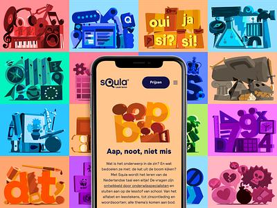 SQULA subject illustrations education elearning graphic design branding design bobbypola vector illustration