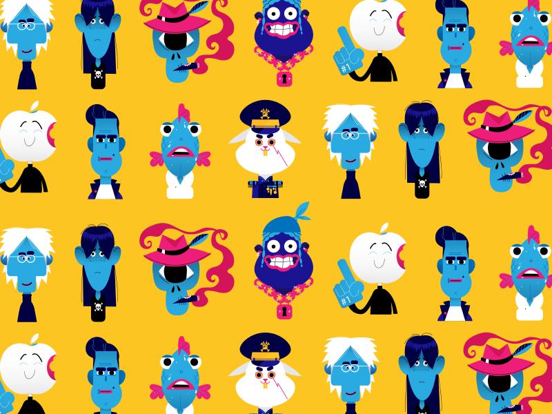 BP characters: Pattern leather fish bunny rocker apple skull characterdesign pattern bobbypola cmyk character illustration