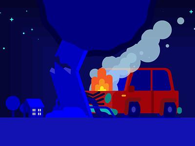 Crash minimal vector design illustration
