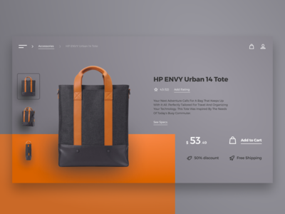 HP ENVY Urban 14 Tote Page Concept ui design challenge ux ui uxui design uxui uid product card e-store e-shop user interface designer ui designer user interface design ui design ui minimalis minimalism ecommerce product page bag backpack hp