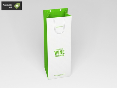 Cardboard Wine Bag Mock-Up wine shopping shop package pack mock-up mockup buy bags bag