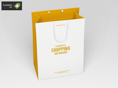 Small Cardboard Shopping Bag Mock-Up shopping shop package pack mock-up mockup buy bags bag