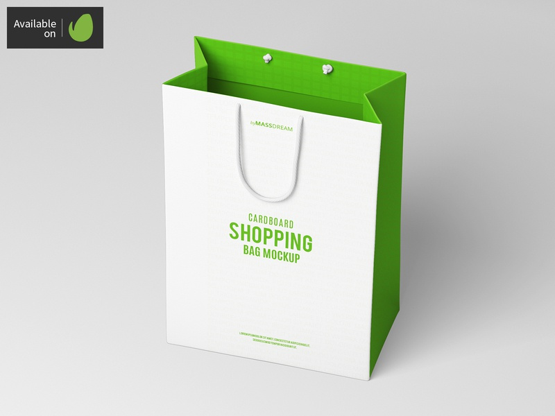 Small Cardboard Shopping Bag Mock-Up shopping shop package pack mock-up mockup buy bags bag