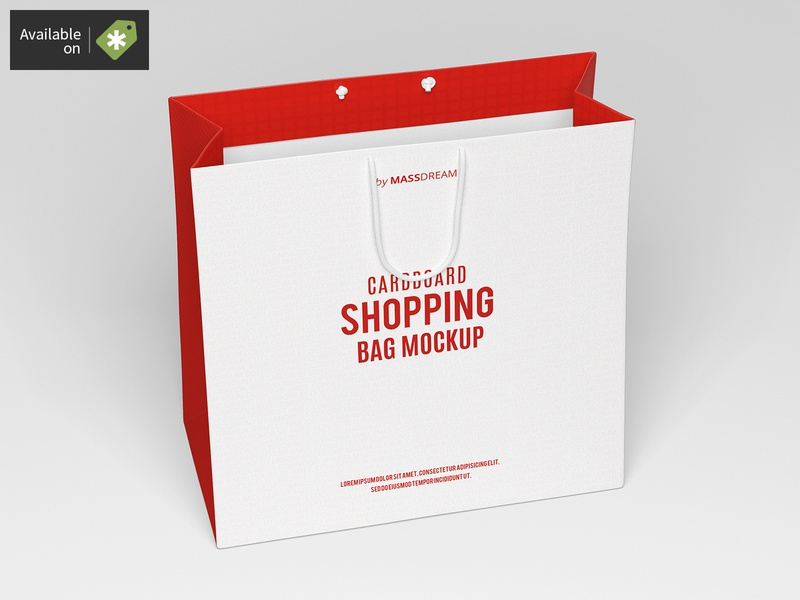 Medium Cardboard Shopping Bag Mock-Up medium shopping shop package pack mock-up mockup buy bags bag