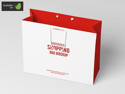 Large Cardboard Shopping Bag Mock-Up large shopping shop package pack mock-up mockup buy bags bag