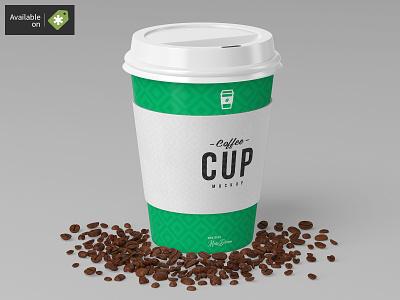 8oz Coffee Cup Mock-Up sleeve paper mockups mock-up lid cup coffee cardboard cafe bean