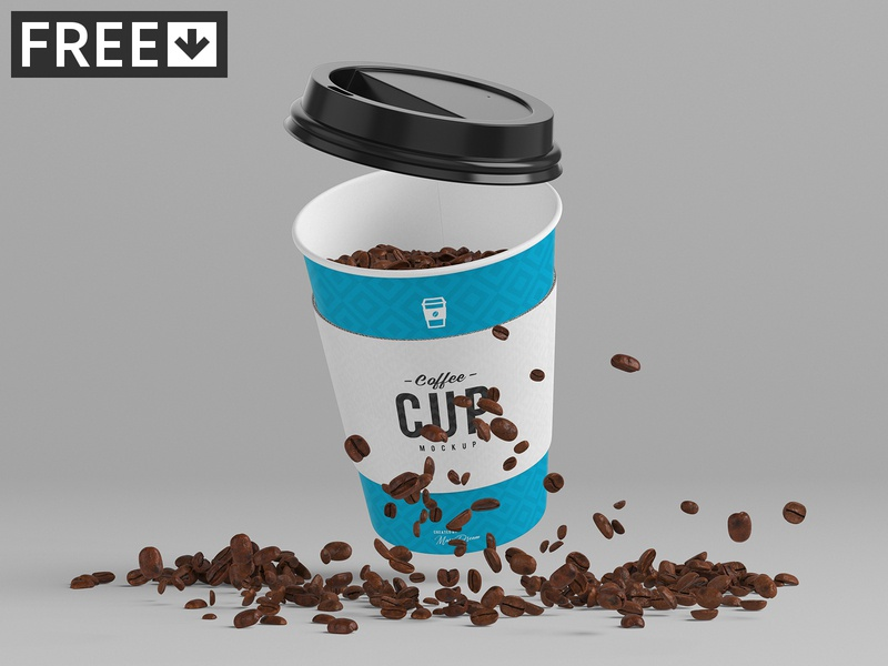 8oz Coffee Cup Mock-Up freebie free sleeve paper mockups mock-up lid cup coffee cardboard cafe bean