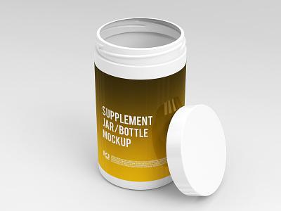 Supplement Jar / Bottle Mock-Up 3 vitamin supplement sport softgels pill packing packaging package nutrition mockups mock-up mockup medicine medical label jar health container capsule bottle