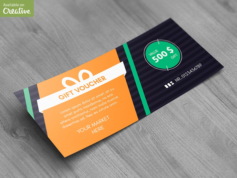 Gift / Discount Voucher Mock-Up voucher shopping sale mockup mock gift discount coupon certificate card