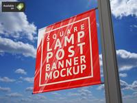 Square Lamp Post Banner Mock-Up