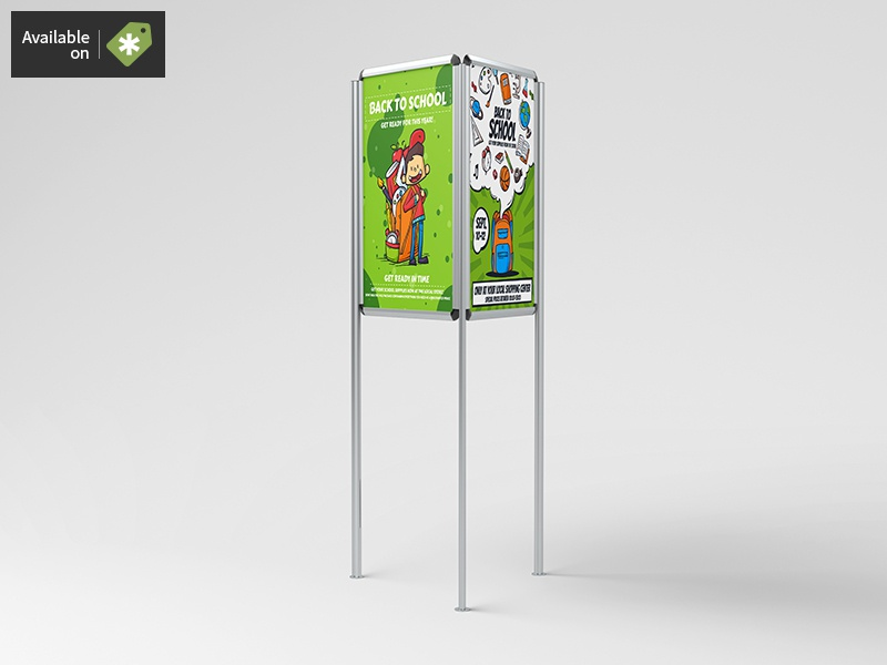 Triboard 3 Sided Stand / Board Mock-Up stand poster mockup frame commercial business board billboard advert ad