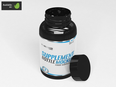 Supplement Bottle Mock-Up vitamin tablet supplement pill package nutrients mockup mock-up capsule bottle