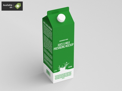 Juice / Milk Packaging Mock-Up packaging pack mockup milk liquid juice fruit drink cardboard bottle